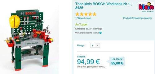 Theo klein 8485 BOSCH Werkbank Nr.1 - jetzt 11% billiger