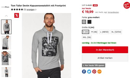 Tom Tailor Denim Kapuzensweatshirt mit Frontprint in Schwarz oder Grau - jetzt 26% billiger
