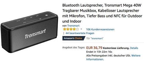 Tronsmart Mega 40W Bluetooth Lautsprecher - jetzt 20% billiger
