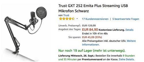 Trust GXT 252 Emita Plus Streaming USB Mikrofon in Schwarz inkl. Tischmontage - jetzt 24% billiger