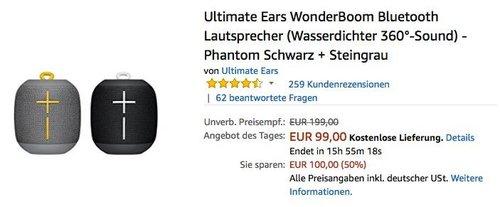 Ultimate Ears WonderBoom Bluetooth Lautsprecher Phantom Schwarz + Steingrau 2er Set - jetzt 15% billiger