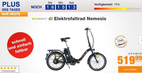 """Vecocraft 20"""" Elektrofaltrad Nemesis in Schwarz - jetzt 21% billiger"""