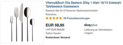 Villeroy & Boch Ella Besteckset 30tlg. - jetzt 25% billiger
