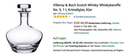 Villeroy & Boch Scotch Whisky Whiskykaraffe No. 3, 1 Liter, Kristallglas - jetzt 40% billiger