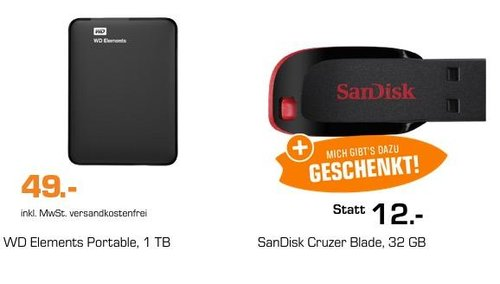 WD Elements 1 TB 2.5 Zoll externe Festplatte + SANDISK Cruzer Blade 32 GB USB-Stick - jetzt 20% billiger