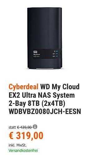 WD My Cloud EX2 Ultra NAS System 2-Bay 8TB (2x4TB) - jetzt 15% billiger