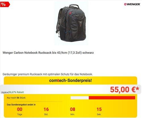 Wenger Carbon Notebook Rucksack bis 43,9cm (17,3 Zoll) in Schwarz - jetzt 13% billiger