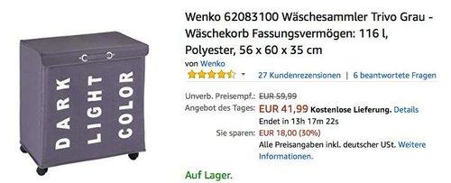 Wenko 62083100 Wäschesammler Trivo Grau - Wäschekorb mit 3 Fächern - jetzt 24% billiger