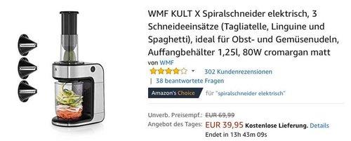 WMF KULT X elektrische Spiralschneider für Obst- und Gemüsenudeln - jetzt 24% billiger