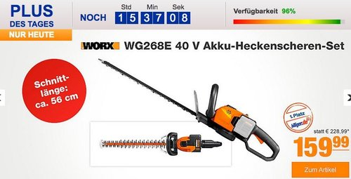 Worx WG268E 40 V Akku-Heckenscheren-Set - jetzt 19% billiger