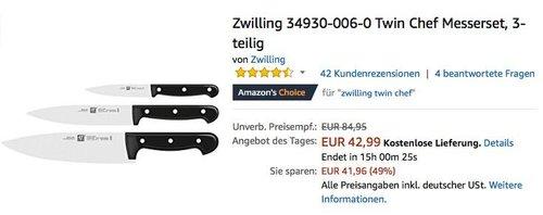 Zwilling 34930-006-0 Twin Chef Messerset, 3-teilig - jetzt 35% billiger