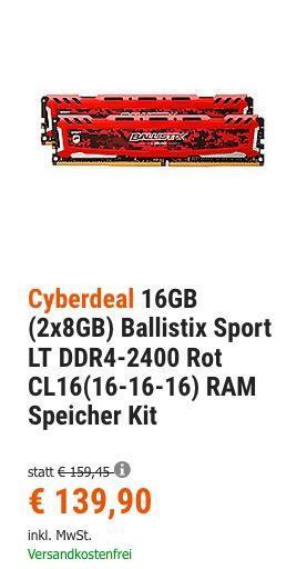 16GB (2x8GB) Ballistix Sport LT DDR4-2400 Rot CL16(16-16-16) RAM Speicher Kit - jetzt 7% billiger