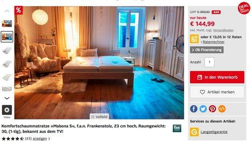 """7-Zonen-Komfortschaummatratze """"Mabona S"""" in verschiedenen Größen ab 144,99€ - jetzt 20% billiger"""