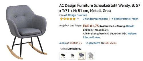 AC Design Furniture Schaukelstuhl Wendy in Dunkelgrau - jetzt 29% billiger
