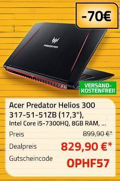 "Acer Predator Helios 300 317-51-51ZB 43,94 cm (17,3"") Notebook, Intel Core i5-7300HQ, 8GB RAM, 1.000GB HDD, Linux - jetzt 8% billiger"