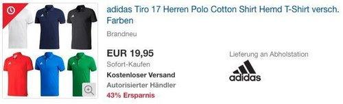 adidas Herren Tiro 17 Cotton Poloshirt in versch. Farben - jetzt 10% billiger