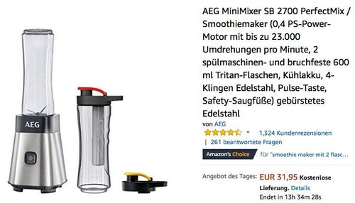 AEG MiniMixer SB 2700 PerfectMix Mixer/Smoothiemaker - jetzt 26% billiger