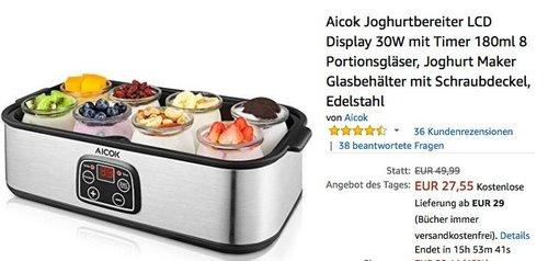 Aicok Joghurtbereiter inkl.  8x180ml Portionsgläser - jetzt 39% billiger