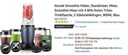Aicook Smoothie Maker 900W in Blau - jetzt 41% billiger