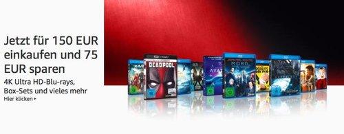 Amazon: Für 150 EUR DVD & Blu-ray kaufen - 75 EUR sparen - Aktion (bis 28 Okt. 2018) - jetzt 48% billiger