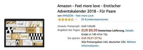Amazon - Feel more love - Erotischer Adventskalender 2018 - jetzt 31% billiger