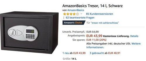 AmazonBasics Tresor 14 Liter in Schwarz - jetzt 20% billiger