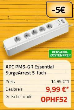APC PM5-GR Essential SurgeArrest 5-fach Überspannungsschutz-Steckdosenleiste - jetzt 33% billiger