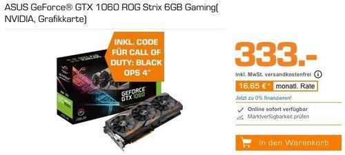 ASUS GeForce® GTX 1060 ROG Strix 6GB Grafikkarte inkl. Code für Call of Duty: Black Ops 4 - jetzt 12% billiger
