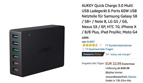 AUKEY Quick Charge 3.0 Multi USB Ladegerät 6 Ports - jetzt 32% billiger