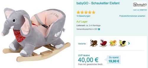 babyGO - Schaukeltier Elefant - jetzt 5% billiger