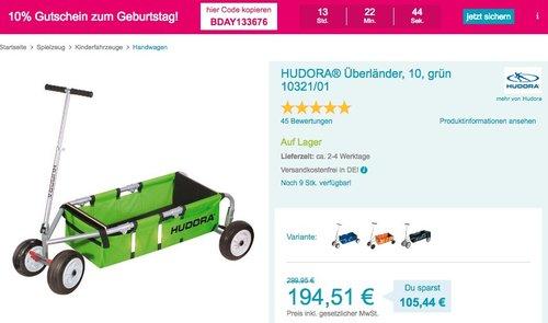 Babymarkt.de - 10% Rabatt auf fast alles: z.B. HUDORA Bollerwagen Überländer 10 Zoll - jetzt 17% billiger