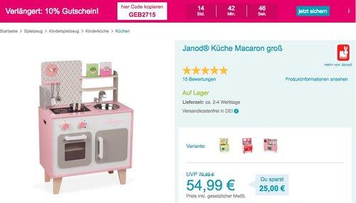 Babymarkt.de - 10% Rabatt auf fast alles: z.B. Janod® Küche Macaron inkl. 5 Teilen Zubehör - jetzt 37% billiger