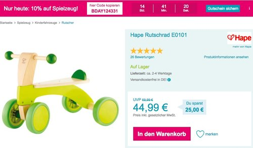 Babymarkt.de - 10% Rabatt auf Spielzeug am 14.10.18: z.B. Hape E0101 - Rutschrad - jetzt 10% billiger