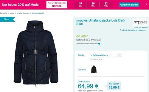 Babymarkt.de - 20% Rabatt auf Mode am 12.10.18: z.B. noppies Umstandsjacke Lois - jetzt 20% billiger