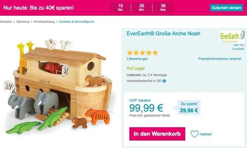 Babymarkt.de - bis zu 40€ Rabatt auf fast alles: z.B. EverEarth® Große Arche Noah - jetzt 25% billiger
