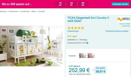 Babymarkt.de - bis zu 50€ Rabatt auf Kinderzimmer: z.B. TiCAA Etagenbett Erni Country-V weiß Safari - jetzt 20% billiger