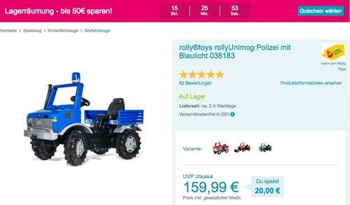 Babymarkt.de - bis zu 50€ Rabatt am 22.10 auf fast alles: z.B. rolly®toys rollyUnimog Polizei Tretfahrzeug mit Blaulicht - jetzt 16% billiger