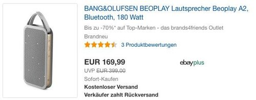 BANG&OLUFSEN BEOPLAY Lautsprecher Beoplay A2 in Champagne Grey - jetzt 31% billiger