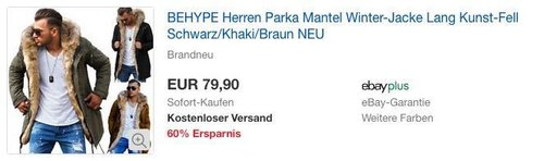BEHYPE Herren Parka Mantel Winter-Jacke, langes Kunstfell, verschiedene Farben - jetzt 20% billiger