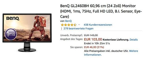 BenQ GL2460BH 60,96 cm (24 Zoll) Monitor ((HDMI, 1ms, 75Hz, Full-HD LED) - jetzt 20% billiger