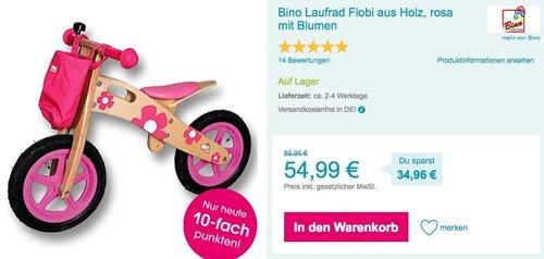 Bino Laufrad Flobi aus Holz, rosa mit Blumen - jetzt 21% billiger