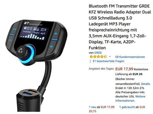 Bluetooth FM Transmitter GRDE BT70  mit Ladegerät, MP3 Player und Freisprecheinrichtung - jetzt 27% billiger