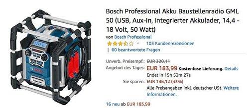 Bosch Professional 50 Watt Akku Baustellenradio GML 50 - jetzt 23% billiger