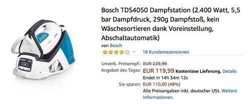 Bosch TDS4050 Dampfstation mit 5,5 bar Dampfdruck - jetzt 14% billiger