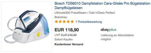 Bosch TDS6010 Dampfstation Serie 6 EasyComfort in Weiß /Nachtblau - jetzt 13% billiger