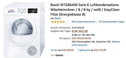 Bosch WTG86400 Serie 6 Luftkondensations-Wäschetrockner 8 kg - jetzt 14% billiger