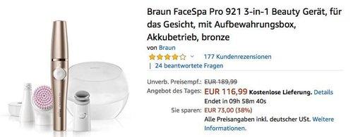 Braun FaceSpa Pro 921 3-in-1 Beauty Gerät für das Gesicht - jetzt 17% billiger