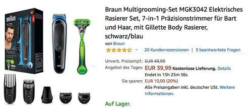 Braun Multigrooming-Set MGK3042 7-in-1 Präzisionstrimmer für Bart und Haar - jetzt 18% billiger
