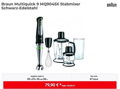 Braun Multiquick 9 MQ9045X Stabmixer  in Schwarz-Edelstahl - jetzt 16% billiger