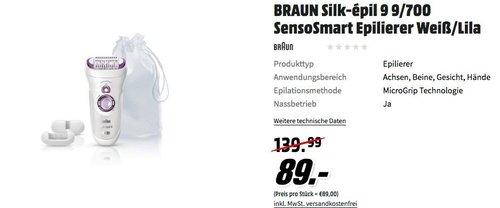 BRAUN Silk-épil 9 9/700 SensoSmart Epilierer in Weiß/Lila - jetzt 32% billiger